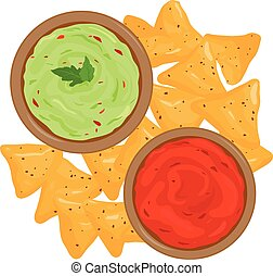 Bowls of avocado guacamole dip, tomato salsa sauce and nachos chips. Top view. Vector illustration