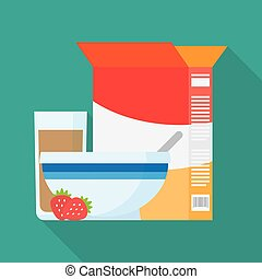 Bowls of breakfast cereal. Vector illustration