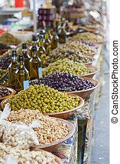 Bowls of olives at a market