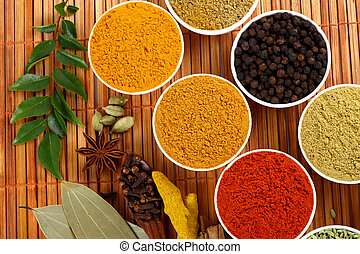 Bowls of spice powders