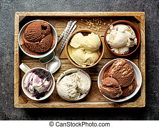 bowls of various ice creams