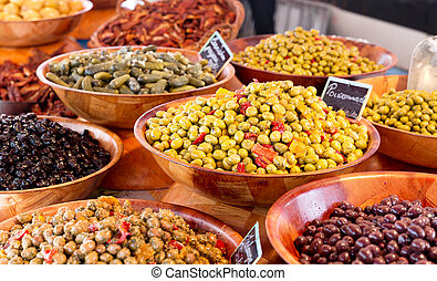 various olives at a market
