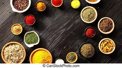 Bowls with different colorful spices