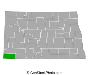 bowman, dakota, mapa, norte