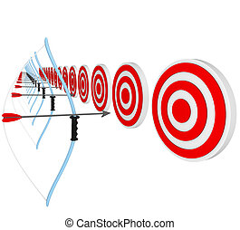 Bows and Arrows Pointing at Bulls-Eyes in Competition