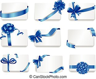 bows., azul, jogo, presente, cartões, bonito