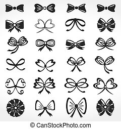 Set of different bows icons, vector eps10 illustration