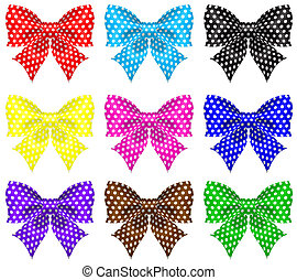 Bows with polka dot - Vector illustration - collection of...