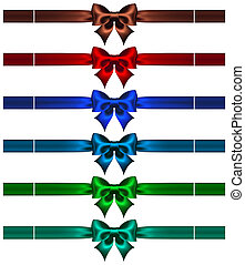 Bows with ribbons in dark colors - Vector illustration -...