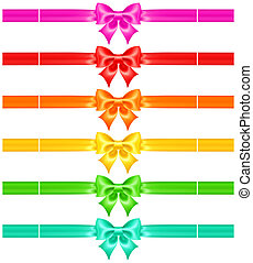 Bows with ribbons of warm colors - Vector illustration -...