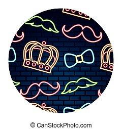 bowtie, couronne, néon, mur, fête, brique, moustache