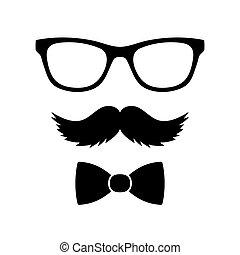 bowtie, estilo, conjunto, vector, hipster, mustaches., ...