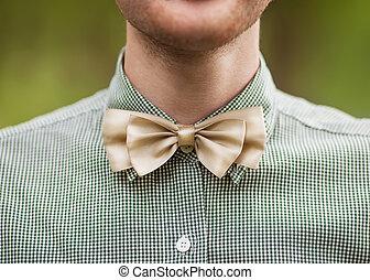 bowtie, foto, moda, hombre, barba