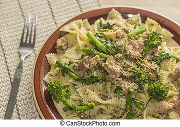 Bowtie Pesto - Bowtie pesto pasta with ground sausage and ...