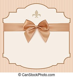 bowWedding Invitation Card .Vintage greeting card template with golden bow and ribbon