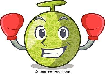 box, čerstvý, meloun, osamocený, dále, charakter, karikatura
