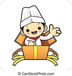 box., χαρακτήρας , απομονωμένος , εικόνα , γελοιογραφία , φόντο. , μικροβιοφορέας , μαγειρεύω , άσπρο , οδηγόs