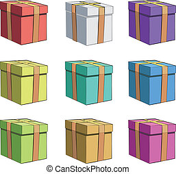 box., ベクトル, カラフルである, 贈り物, design.