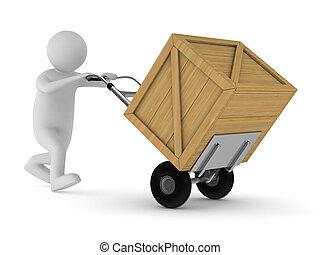 box., 木制, 圖像, 被隔离, 人, 3d