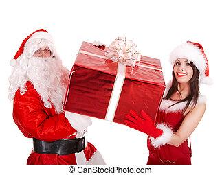 box., 贈り物, 大きい, claus, santa, 女の子, クリスマス