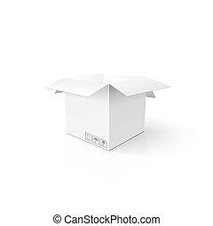 box., 開いた, package., mockup, product., テンプレート, きれいにしなさい, 白, カートン, あなたの, 3d
