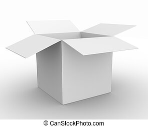 Box - 3d white box opened. Cardboard