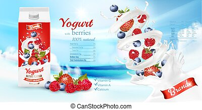 box., advertisment, vector, diseño, yogur, fresco, blanco, ...