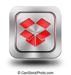 Box aluminum glossy icon, button