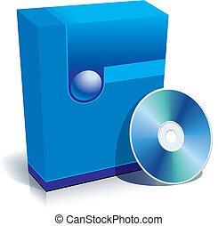 Box and CD - Blue blank 3d box with CD, vector illustration.