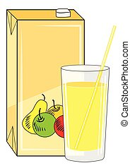 Box and glass with juice