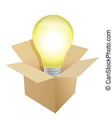 Box and Light Bulb illustration