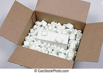 Box and packaging - Brown box with packaging and box inside...