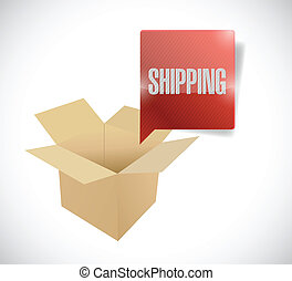 box and shipping speech bubble illustration