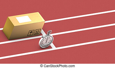 Box and stopwatch racing. This symbolizes on time delivery