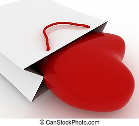Box as heart form in a bag for a gift. The concept of a gift with love