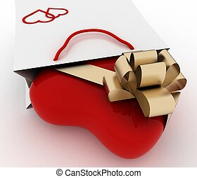 Box as heart form with a gold bow in a bag for a gift. The concept of a gift with love