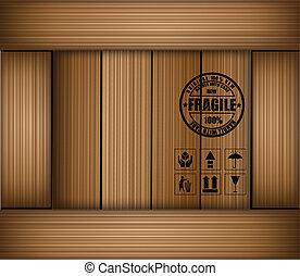 box., autocollant, fragile, vecteur, sécurité, icône