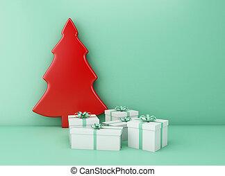 box., baum, weihnachtsgeschenk, 3d