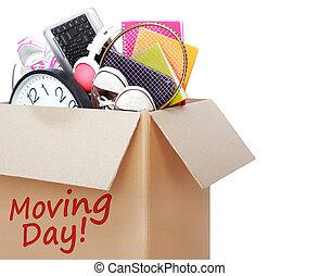 box., begrepp, flyttande dag, papp