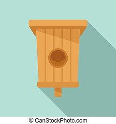 Box bird house icon, flat style