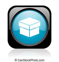 box black and blue square web glossy icon