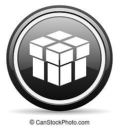 box black glossy icon on white background
