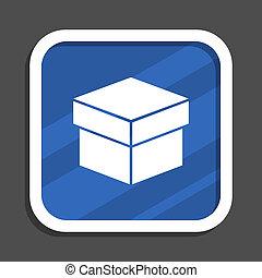Box blue flat design square web icon