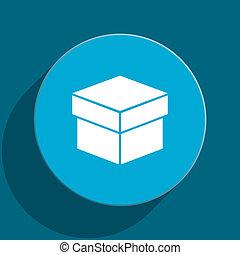 box blue flat web icon