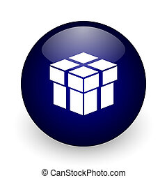Box blue glossy ball web icon on white background. Round 3d render button.
