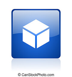 box blue square glossy web icon on white background