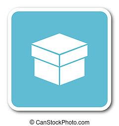 box blue square internet flat design icon