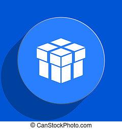 box blue web flat icon