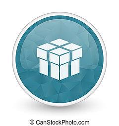 Box brillant crystal design round blue web icon.