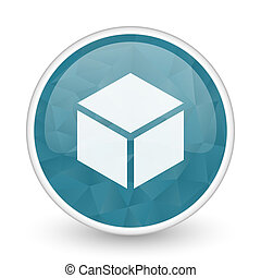 Box brillant crystal design round blue web icon.